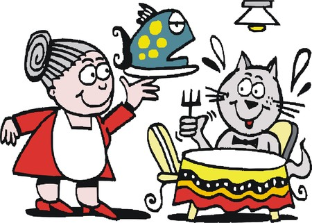 contented: Vector cartoon of hungry cat being served meal of fish Illustration