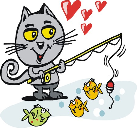 Vector cartoon of smiling cat with fishing rod. Illustration