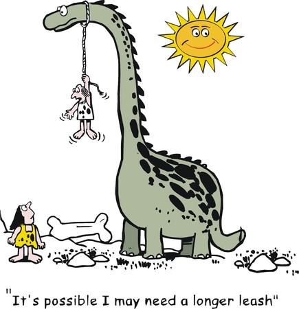 leash: Vector cartoon of caveman with large dinosaur on leash.