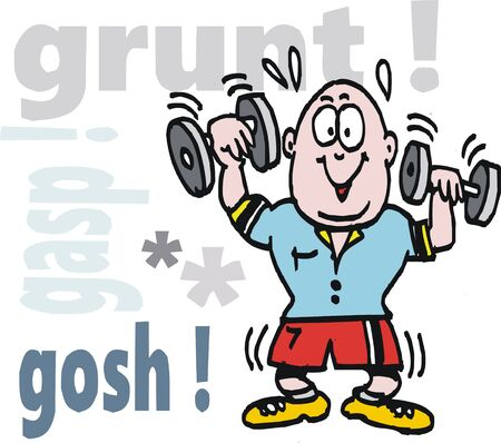 Vector cartoon of happy man exercising with weights