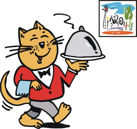 contented: Vector cartoon of cat waiter carrying dish on platter