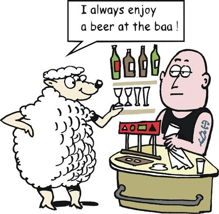 ordering: Vector cartoon of sheep ordering beer at hotel bar