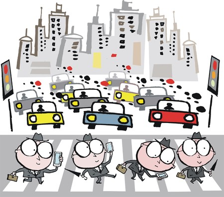 busy city: Vector cartoon of business executives crossing busy city street
