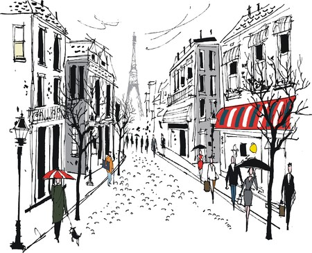 Vector illustration of old French city street with pedestrians and trees