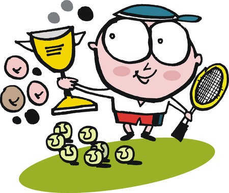 triumphant: Vector cartoon of triumphant tennis player with cup trophy