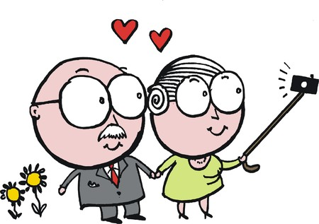 memory stick: Vector cartoon of elderly grandfather and grandmother taking photo wth selfie stick