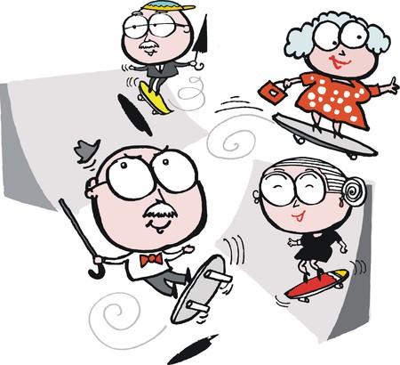 joke glasses: Vector cartoon of elderly senior people exercising on skateboards