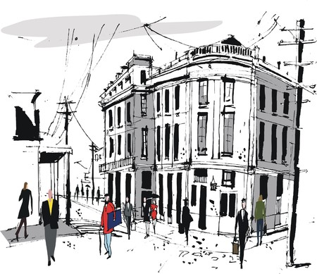 telephone pole: Vector illustration of old buildings and pedestrians, France