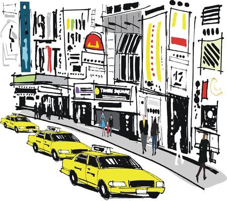 Vector illustratie van taxi's en voetgangers, Times Square in New York