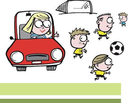 child running: Vector cartooon of woman dropping off children to football practice