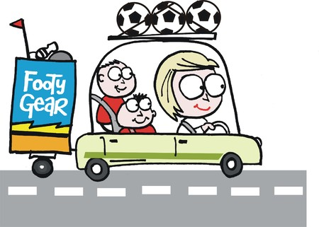 woman driving: cartoon of woman driving her children to sports practice. Illustration