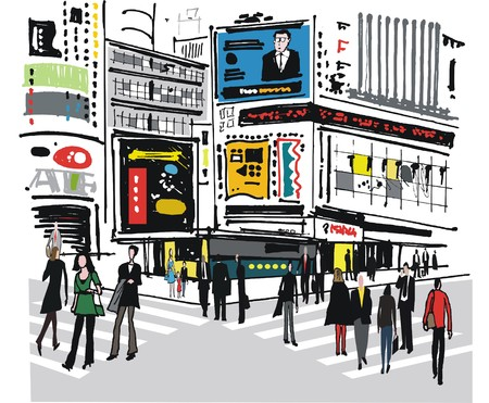 Vector illustration of pedestrians, Times Square New York
