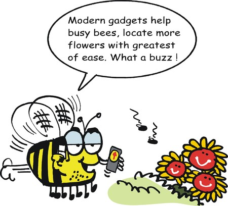 finding: Vector cartoon of funny bee with GPS direction finding device