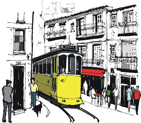 Vector illustration of tram in old Lisbon street Portugal