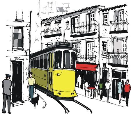trams: Vector illustration of tram in old Lisbon street Portugal