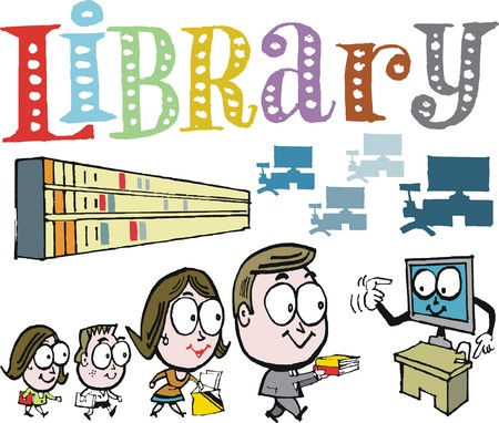 carrying out: Vector cartoon of family taking books out at library