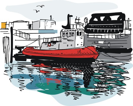 harbor: Vector illustration of tug boat, Auckland wharves, New Zealand