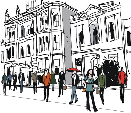 colonial house: Vector illustration of pedestrians and old houses, Auckland New Zealand Illustration