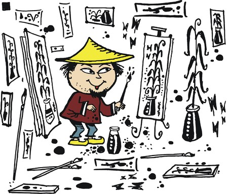 asian man smiling: Vector cartoon of smiling Asian man painting pictures