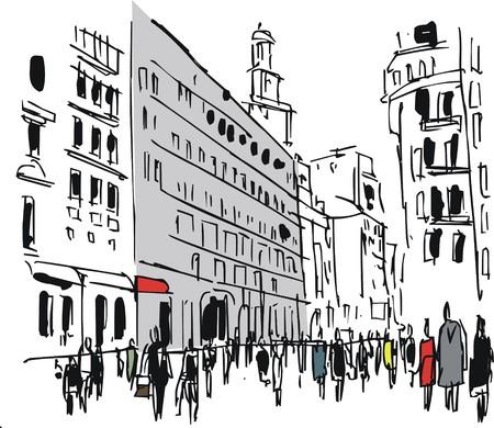 Vector illustratie van voetgangers op drukke straat in de stad