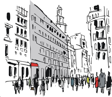 Vector illustration of pedestrians on busy city street Illustration
