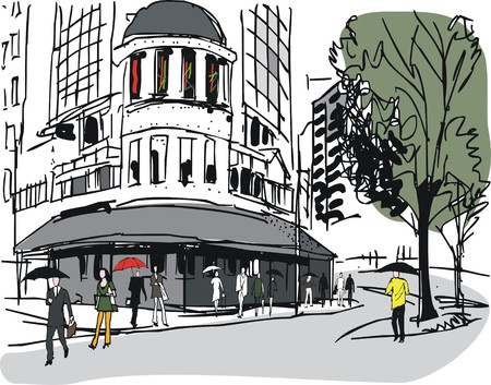 old city: Vector illustration of old buildings and pedestrians, Wellington New Zealand Illustration