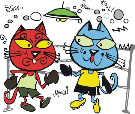 menacing: Vector cartoon of two cats fighting. Illustration