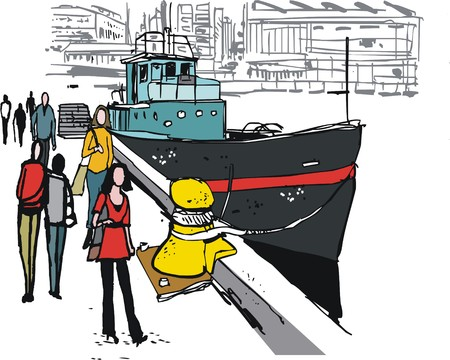 pedestrians: Vector illustration of pedestrians and boat, Wellington New Zealand Illustration