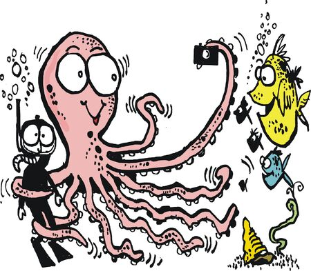 skindiver: Vector cartoon of octopus holding skindiver hostage Illustration