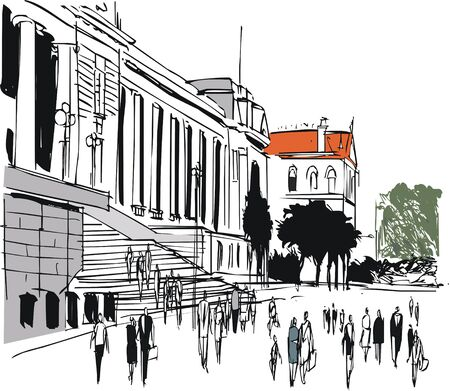 ink drawing: Vector illustration of Parliament buildings and people, Wellington New Zealand
