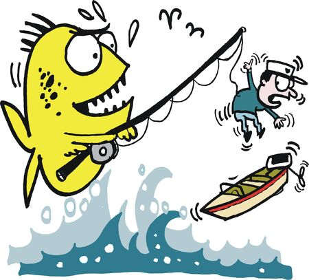 menacing: Vector cartoon of big fish catching angler