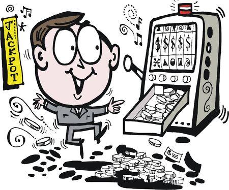 thrilled: Vector cartoon of happy man celebrating jackpot win