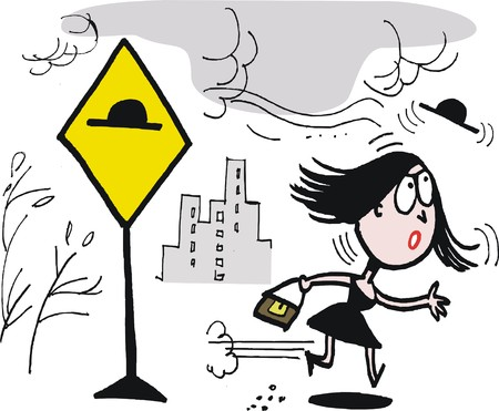 windy city: Vector cartoon of woman losing hat in gale Illustration