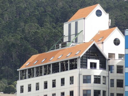 roof windows: Modern office building with peaked roof, Wellington, New Zealand