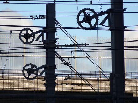 wellington: Network of power lines, railway yards, Wellington, New Zealand Stock Photo