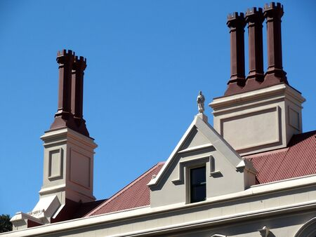 wellington: Chimney pots on old Parliament buildings, Wellington, Zealand Stock Photo