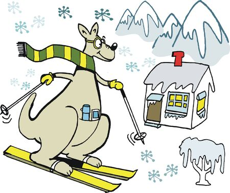 chalet: Vector cartoon of kangaroo with scarf skiing down mountain