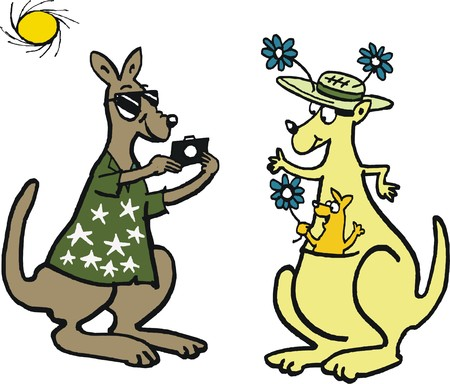 taking picture: Vector cartoon of kangaroo taking picture of family on vacation.