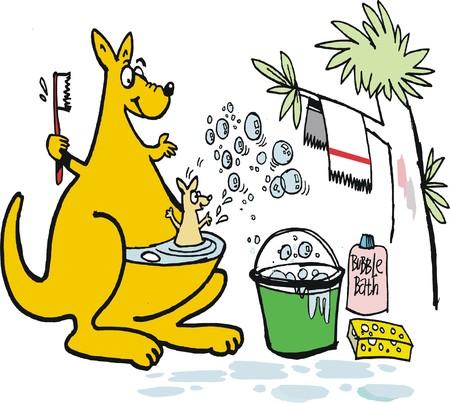 kangaroo mother: Vector cartoon of mother kangaroo bathing joey in bubble bath.