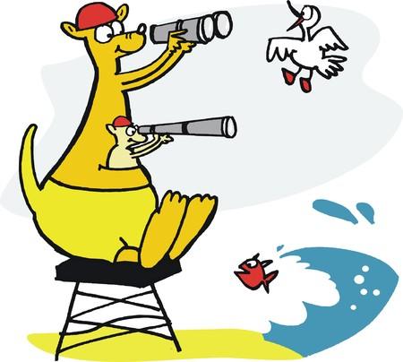 binoculars: Vector cartoon of kangaroo lifeguard with binoculars at beach.