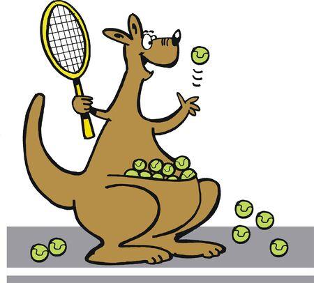 jugando tenis: Vector de dibujos animados de canguro pista de juego. Vectores