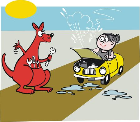 motorist: Vector cartoon of kangaroo with stranded motorist Illustration