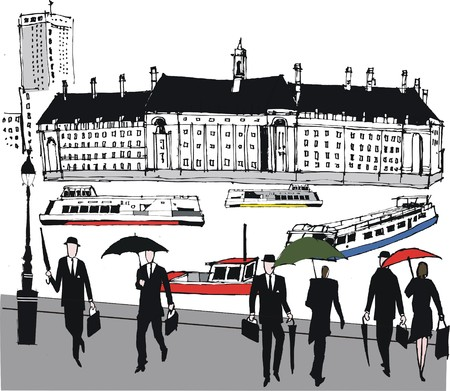 thames: illustration of commuters, London England Illustration