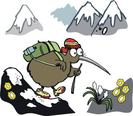 peak hat: cartoon of happy kiwi climbing mountain