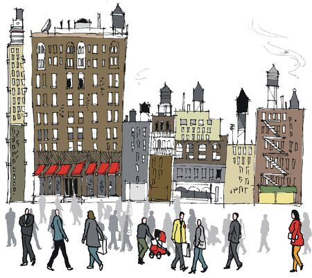 new york buildings: illustration of pedestrians and New York buildings