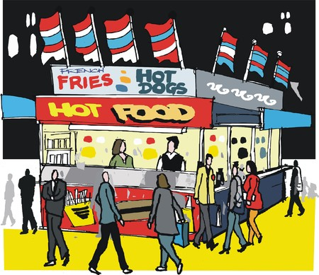 stall: illustration of fast food hot dog stall, New York Illustration