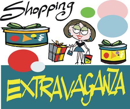 cartoon van de vrouw winkelen voor giften en cadeaus.