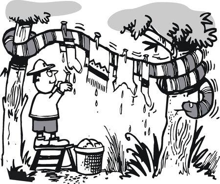 snake cartoon: cartoon of African explorer and large snake Illustration