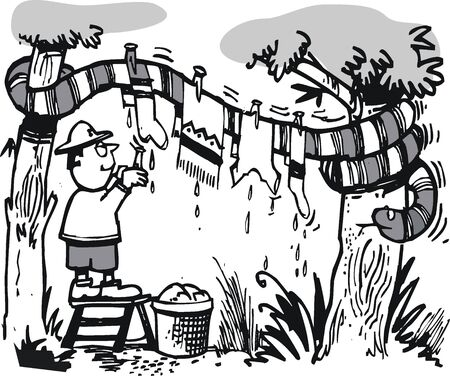 serpiente caricatura: de dibujos animados de explorador africano y la gran serpiente Vectores