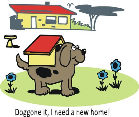 large dog: cartoon of large dog with small kennel